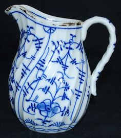 Antique Porcelain Blue and White Cream Pitcher from midcoastfineantiquesofmaine on Ruby Lane