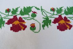 5. Vintage hand embroided pure linen decor towelkitchen