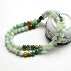 Chinese Auspicious Multi-Color Jade Necklace. #Jade #necklace #beads #jadeite