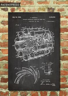 Aviation Gift, Airplane Art, Aviation Wall Decor, Airplane Wall Decor, Airplane Print Air Force Gift, Patent Poster Jet Engine Poster P183