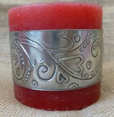 Hears and flourishes candle wrap by Caroline @ Pewter Concepts