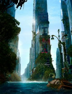 Andree Wallin join us http://pinterest.com/koztar / overgrown city / sci fi fantasy / underwater city / digital art / futuristic