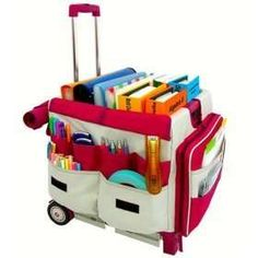 Rolling Teacher Cart: Save your back and keep things organized. Use the rolling cart to bring home grading, lesson planning, etc. Rolling Bags For Teachers, Teacher Rolling Cart, Teacher Cart, Teacher Helper, Teacher Tools, Teacher Stuff, Teaching Music, Student Teaching, Teaching Secondary