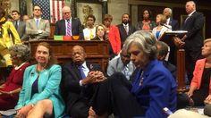 Sitzend für schärferes Waffenrecht: US-Abgeordnete blockieren Kongress