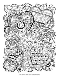 Free printable Valentine's Day coloring pages for use in your classroom and home from PrimaryGames. Print and color this Zentangle Hearts coloring page.