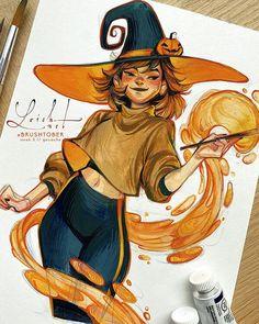 Cool Art Drawings, Art Drawings Sketches, Arte Sketchbook, Witch Art, Cartoon Art Styles, Gouache Painting, Character Design Inspiration, Cute Art, Art Inspo