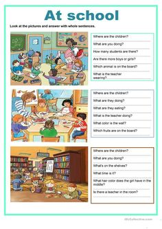 Picture description - at school - English ESL Worksheets for distance learning and physical classrooms English Grammar For Kids, Teaching English Grammar, English Worksheets For Kids, Kids English, French Language Learning, Writing Comprehension, Picture Comprehension, Comprehension Worksheets, English Creative Writing