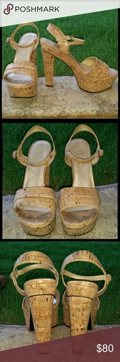 "Stuart Weitzman  Cork Platform Sandals Stuart Weitzma  platform sandals w/5"" heel and 2"" toe platform.  The cork  has a slight hint of gold shimmer. Great condition w/ no signs of wear, like new. Sold-out on the Neiman Marcus Website. Stuart Weitzman  Shoes Platforms"