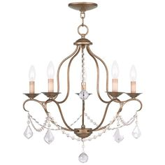 Livex Lighting Chesterfield Antique Gold Leaf Chandelier 6435-48