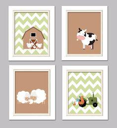 Nursery Quad, Farm Nursery, Green and Brown Nursery, Set of 4 8X10, Brown, Green, Choose your colors