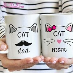 "HOT PRICES FROM ALI - Buy ""Cat Mom, Cat Dad mugs milk cup wine beer cups friend gifts Coffee Cup home decal novelty porcelain mugs"" for only USD."