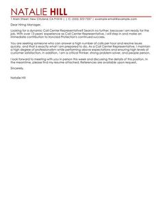 Customer Service Cover Letter Example | Cover Letter Example, Letter Example  And Letter Sample