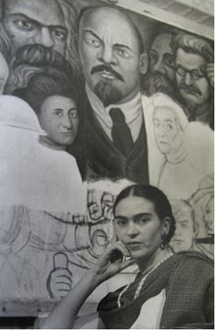 """Lucienne Bloch     Frida Kahlo In Front of Diego Rivera's Unfinished """"Unity"""" Panel, Rockefeller Center, New York City     1933"""