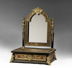 Early 19th Century Boulle Shaving Stand and Mirror Found on RubyLane.com