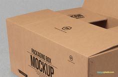 Free Cardboard Box Mockup | ZippyPixels