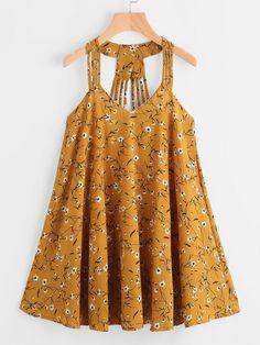 ROMWE - ROMWE Ditsy Print Strappy Detail Dress - AdoreWe.com
