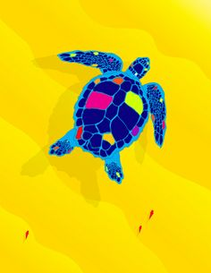 Paper Craft Sea Turtle - This brilliant loggerhead sea turtle swims majestically off the beach of the tropical island where she has laid her eggs, accompanied by colorful fish.
