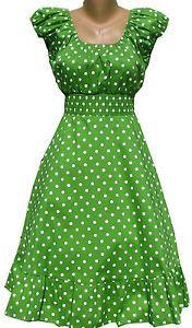 Dark Lime Green Polka Dot Dress Peasant Boho 50's Pinup Retro Hippie Plus Size | eBay
