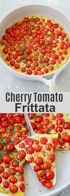 Tomato Recipes Cherry Tomato Frittata - the easiest and most delicious frittata ever. Made with 3 main ingredients of eggs, cherry tomatoes and Parmesan cheese! Italian Frittata Recipe, Frittata Recipes, Baked Frittata, Tomato Breakfast, Breakfast Recipes, Egg Recipes, Cooking Recipes, Snacks Recipes, Cherry Tomato Recipes