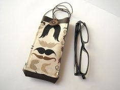 Hipster mustache eyeglass case with lanyard brown faux by Lunica