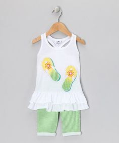 Take a look at this White & Green Flip-Flop Tunic & Pants - Infant & Toddler by Gioberti on #zulily today!