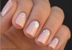 """Light pink nails with cuticle sparkles by Essie """"muchi, muchi"""""""