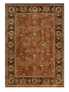 Add a comfortable traditional style to your home with the distressed style  of this beautiful area rug in rich