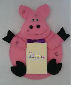 Artelouka artesanato: Porta Recados Porco - Refª 1007