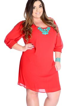 Sexy Red Orange Quarter Sleeve Plus Size Party Dress