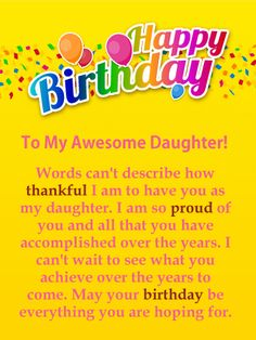 Birthday Wishes for Daughter - Birthday Wishes and Messages by Davia Happy Birthday Quotes For Daughter, Birthday Wishes For Myself, Happy Birthday Fun, Daughter Birthday, Funny Birthday, 21 Birthday, Birthday Nails, Card Birthday, Birthday Images