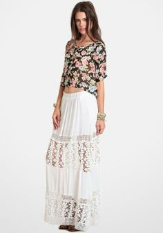 at Threadsence // Gypsetter white maxi skirt featuring sheer lace panels