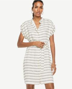 Primary Image of Stripe Short Sleeve Belted Shirtdress