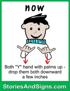 Learn to sign the word...Now. Mr. C's books are fun stories for kids that will easily teach American Sign Language, ASL. Each of the children's stories is filled with positive life lessons. You will be surprised how many signs your kids will learn! Give your child a head-start to learning ASL as a second or third language. There are fun, free activities to be found at StoriesAndSigns.com #teachsignlanguagetokids