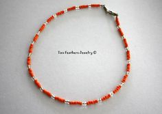 Orange Beaded Anklet  Seed Bead Anklet  by TwoFeathersJewelry, $9.95