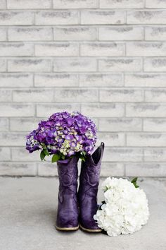 Such fun purple cowgirl boots for this spring bride! Spring Wedding Bouquets, Wedding Dresses, Purple Boots, Wedding Boots, Blue Roses, Rose Design, Commercial Photography, Cowgirl Boots, Weddingideas