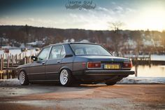 BMW E12 5 series matte grey slammed