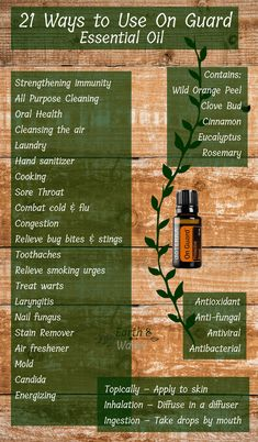 21 Ways to Use On Guard Essential Oil Blend » a blend that protects you from environmental threats as well as builds your immune system in a natural way. It's aroma is grounding, I diffuse it when I'm feeling a bit anxious to tether me back to earth. It's also a great scent for fall & the holidays & can be used to connect you to your lower chakras being root chakra, sacral chakra & solar plexus chakra. use to clean everything you own. A smell for thanksgiving & christmas