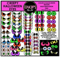 This is a collection of Halloween eyes. For the creepiest effect, lay the eyes over a black background. 60 images (52 in color, 18 in B&W) This set is also available as part of the HALLOWEEN CLIP ART ULTRA BUNDLE