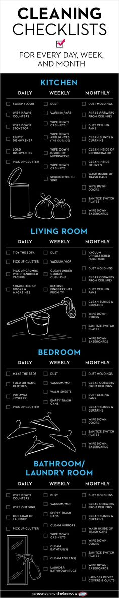 Keep your house in check with this cleaning checklist. Broken down by day, week and month! www.sheknows.com/