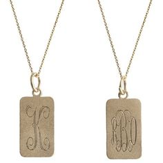 Goldenthread Rectangular Initial Necklace 0 available at graciousbridal.com with free shipping!