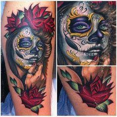 La Catrina by Megan Massacre. Skull Girl Tattoo, Sugar Skull Tattoos, Girl Tattoos, Sugar Skulls, Megan Masacre, Best Cover Up Tattoos, Gay Tattoo, Tattoo Ink, Day Of The Dead Girl