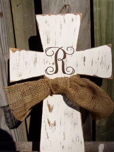 Monogram Wooden Distressed Cross