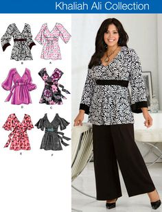 New and uncut Simplicity Khaliah Ali Collection sewing pattern includes instructions and pattern pieces to make womens plus size tops with sleeve