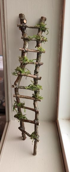 Rickety Ladder Fairy Ladder Handcrafted by Olive Fairy Accessories Fairy House Fairy Door Fairy Window Miniatures Fairy Tree Houses, Fairy Garden Houses, Gnome Garden, Fairy Doors On Trees, Diy Fairy Door, Fairy Garden Doors, Fairies For Fairy Garden, Fairy Village, Diy Fairy House