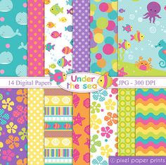 Under the Sea Digital paper set by pixelpaperprints on Etsy Planners, Papel Scrapbook, Scrapbook Supplies, Photoshop Elements, Project Yourself, Print And Cut, Under The Sea, Card Making, Stationery