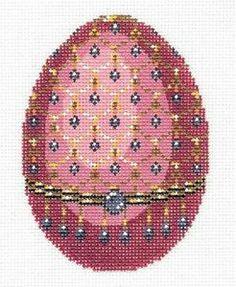 Lee Elegant Jeweled Egg Rose Pink Blue Handpainted Needlepoint Canvas 457 | eBay