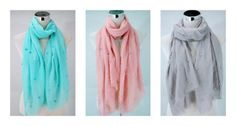 Womens Ladies Frayed Beaded Scarf Scarf in Pink and White in Various Colours