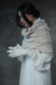 Winter - 2012 - 例外 - (last button on the bottom - a bit of a better view of the cabled/drop stitch stole and the gauntlet gloves)
