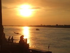 Sunset in Nong Khai, Thailand looking across the river to Laos.