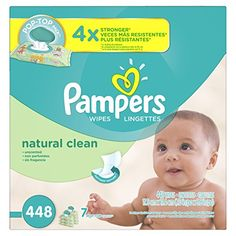 Pampers Natural Clean Unscented Water Baby Wipes 7X Pop-Top Packs 448 Count